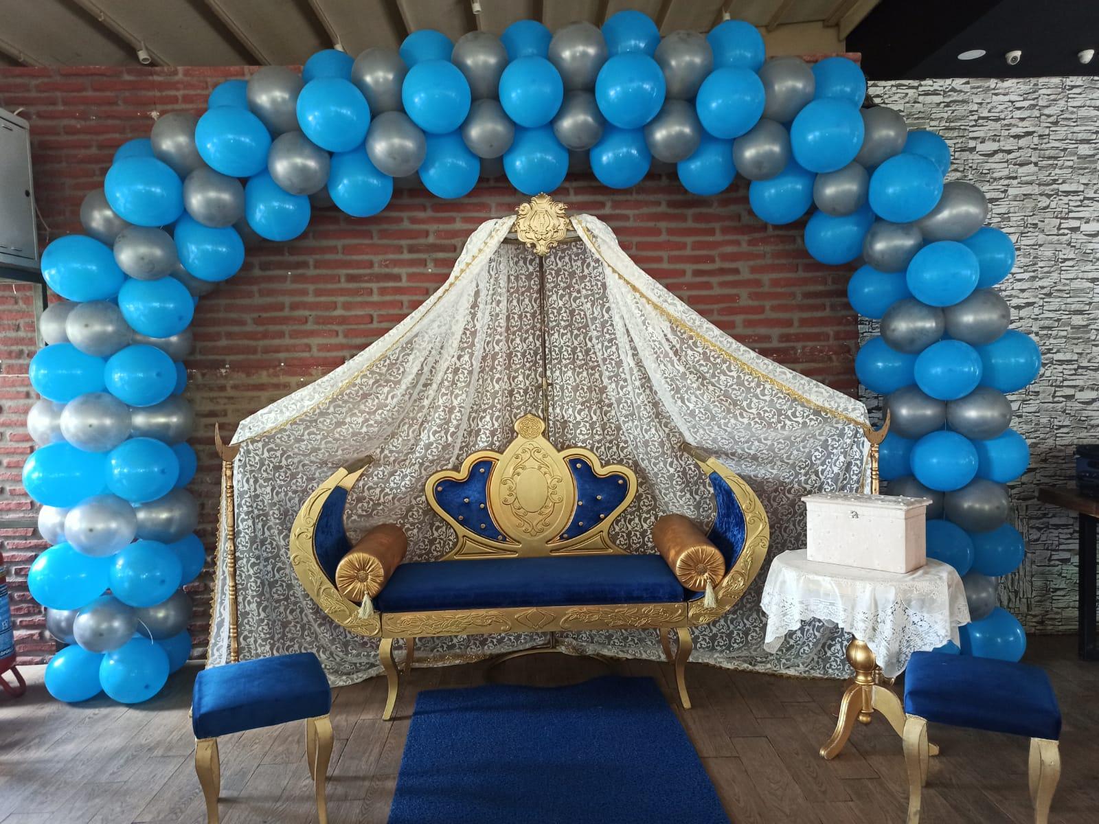 Mavi Çift Kişilik Balonlu Sünnet Tahtı